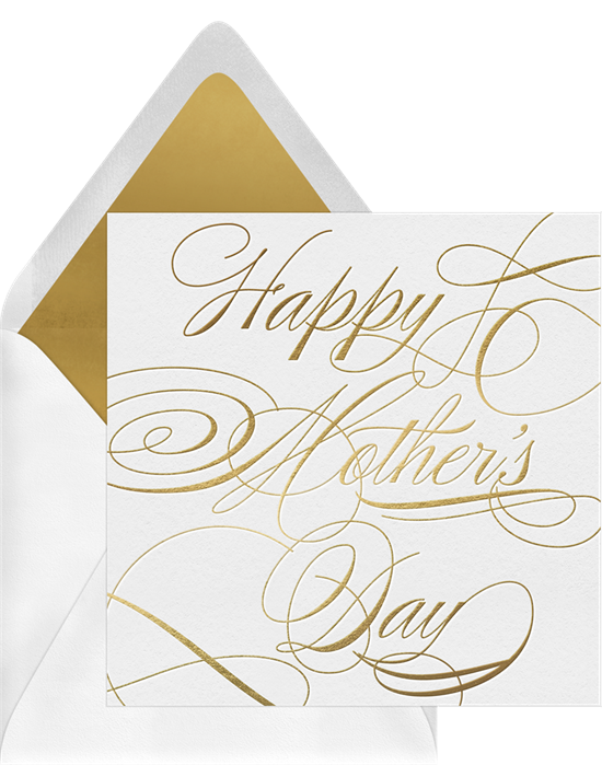 Funny Mother's Day cards: Gold flourish card