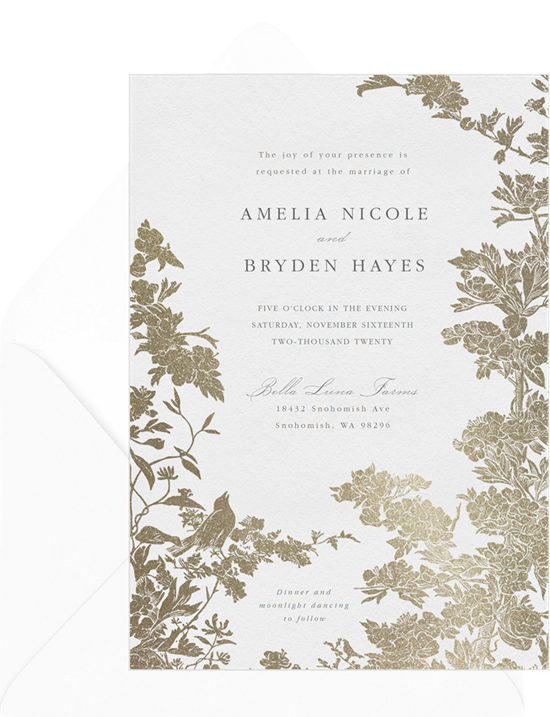 Wedding program wording: A formal, gold foil, wedding invitation
