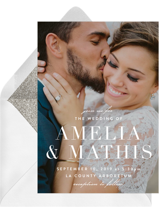 Wedding program wording: A full-bleed photo wedding invitation