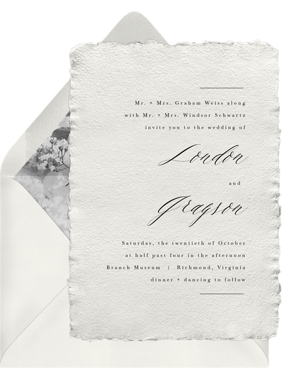 Wedding seating chart: A simple wedding invitation