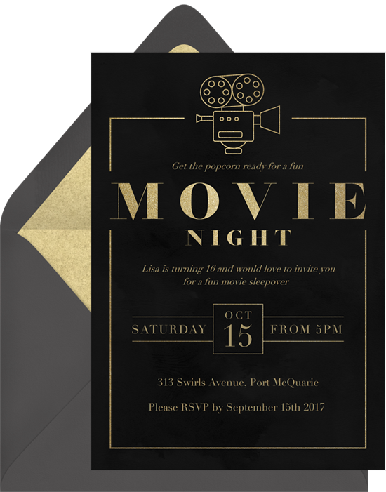 Bridal shower ideas: a movie night themed bridal shower invitation