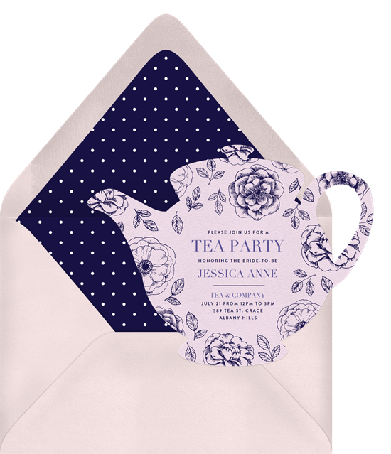 Bridal shower ideas: a tea party themed bridal shower invitation