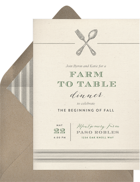 Bridal shower ideas: A farm-to-table dinner themed bridal shower invitation
