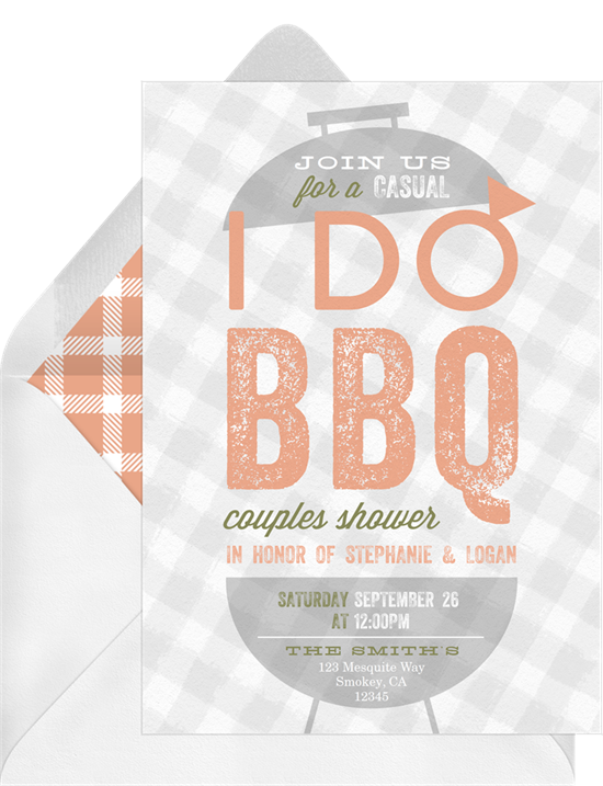 Bridal shower ideas: a BBQ themed bridal shower invitation
