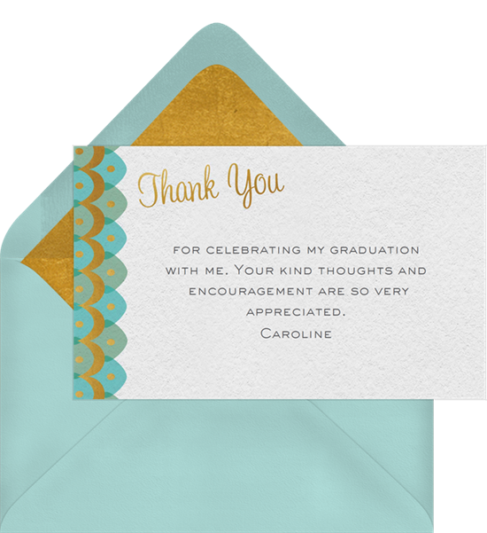 Scalloped Waves graduation thank you cards from Greenvelope