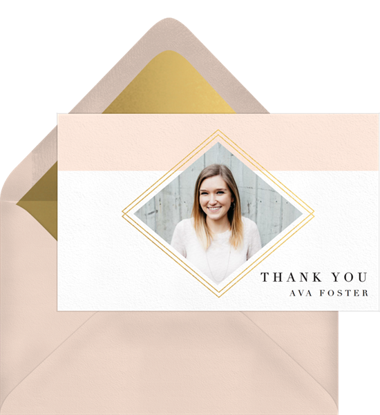 Diamond Frame graduation thank you cards from Greenvelope