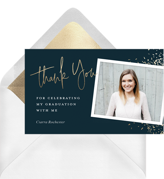 Confetti Spray graduation thank you cards from Greenvelope