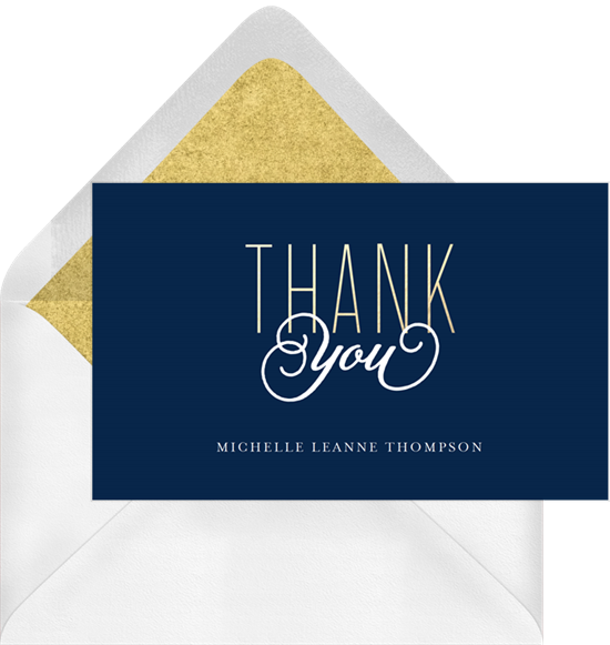 Gold Class graduation thank you cards from Greenvelope