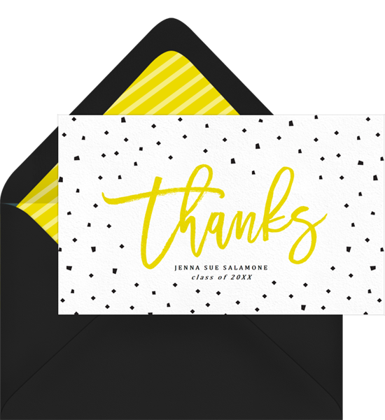 Confetti on Fleek graduation thank you cards from Greenvelope
