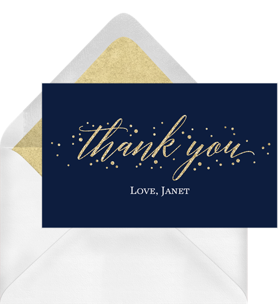 Thank you card ideas: a thank you card with gold-foil lettering and glitter-lined envelope