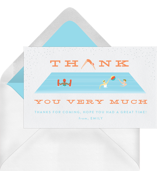 Thank you card ideas: a swimming pool-themed thank you card