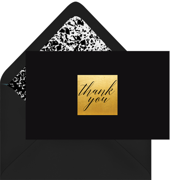 Thank you card ideas: a professional, black and gold thank you card