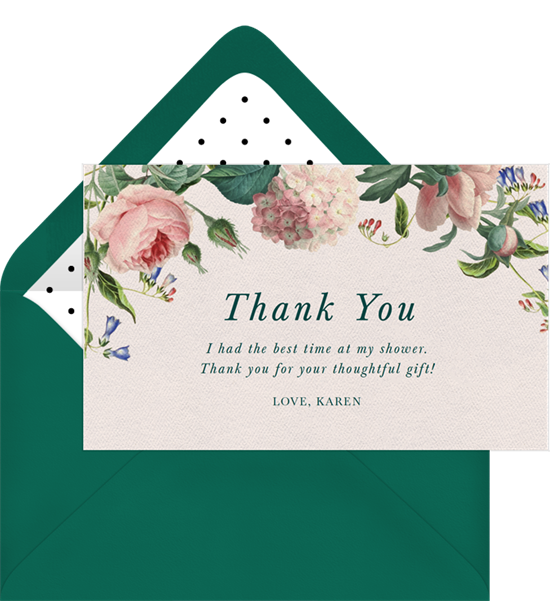 Sweet Roses baby shower thank you cards