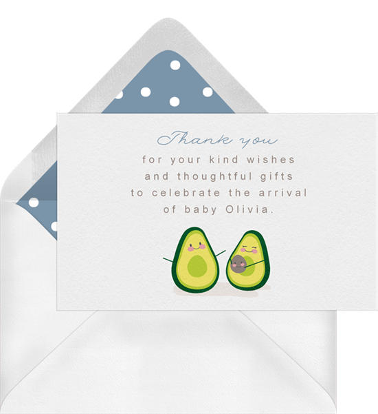 Let's Avo-Cuddle baby shower thank you cards