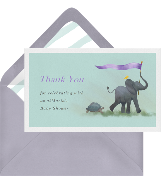 Animal Parade baby shower thank you cards