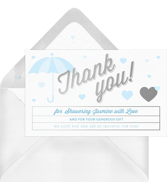 Raining Hearts baby shower thank you cards
