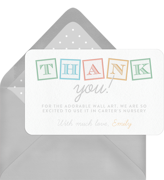 Classic Letter Blocks baby shower thank you cards