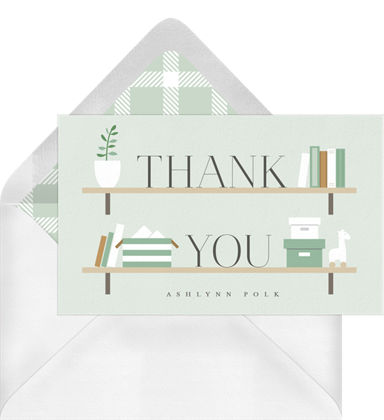 Stock the Shelves baby shower thank you cards