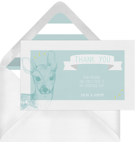 Sweet Baby Deer baby shower thank you cards