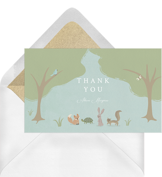 Woodland Storytime baby shower thank you cards