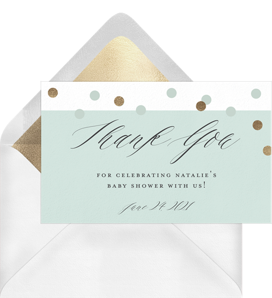 Confetti Balloon baby shower thank you cards