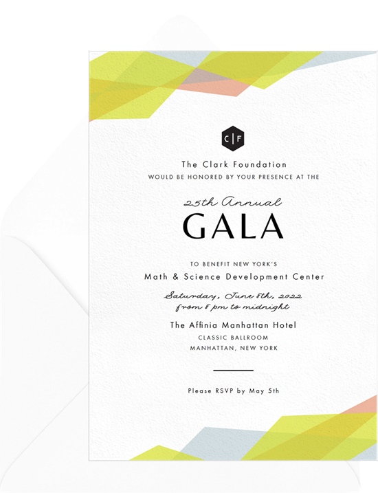 A modern, geometric dinner invitation