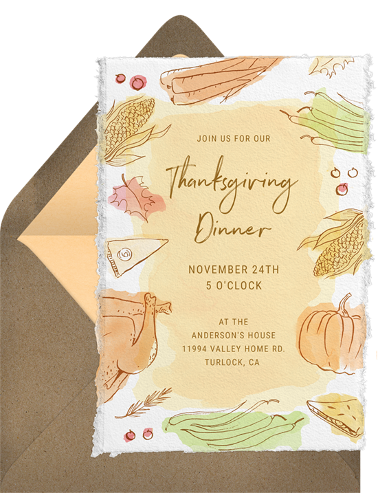 A rustic Thanksgiving dinner invitation