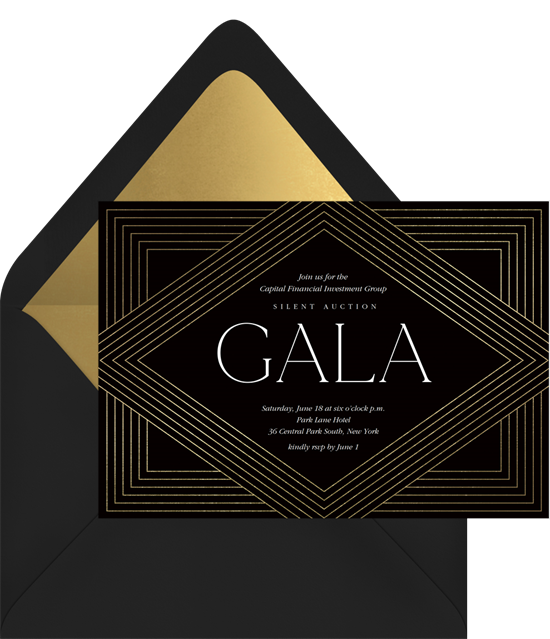 A black and gold, art deco dinner invitation