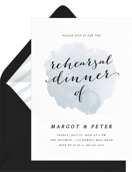 A watercolor dinner invitation