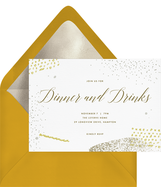 An abstract, modern dinner invitation