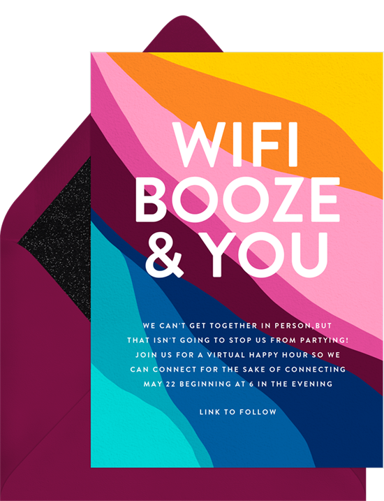 """A virtual birthday party invitation that reads, """"WiFi, Booze, & You"""""""