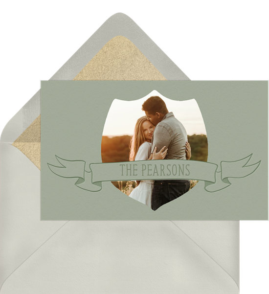 Wedding thank you cards with a photo and banner featuring the couple's name