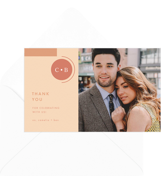 Wedding thank you cards featuring a modern, geometric design and a photo of the couple