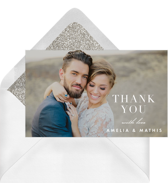 Wedding thank you cards featuring a full-bleed photo and subtle white text