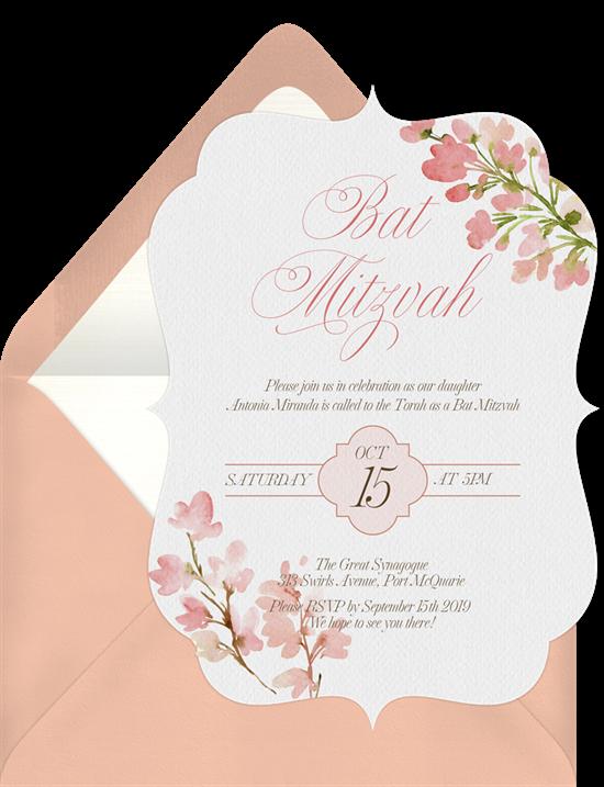 Floral Bat Mitzvah Invitations
