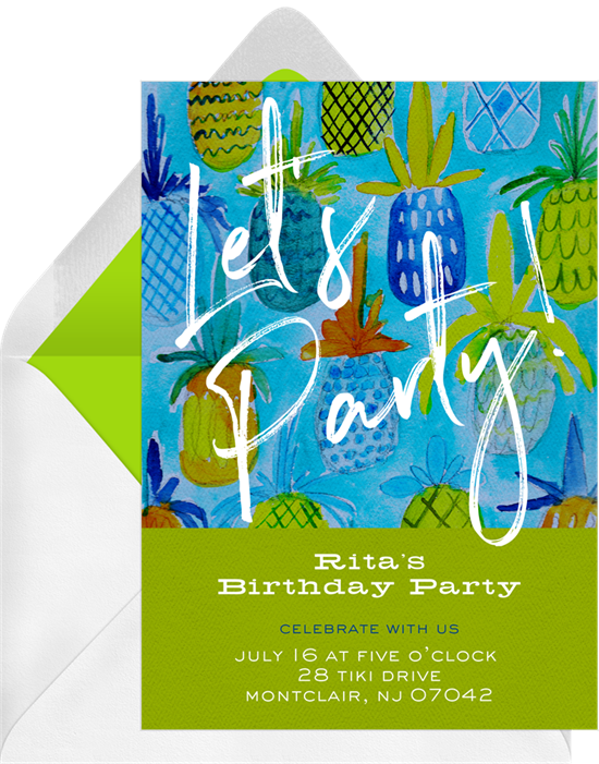 Pool party invitations: the Peppy Pineapple Party invitation design from Greenvelope