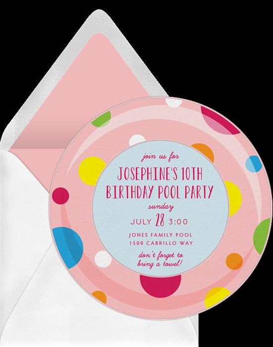 Pool party invitations: the Polka Dot Inner Tube invitation design from Greenvelope