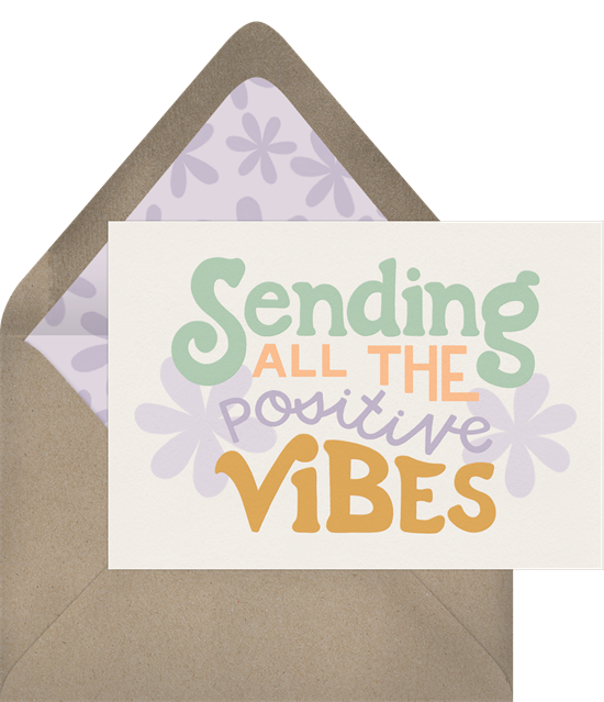 "Thinking of you cards that read ""Sending all the positive vibes"""