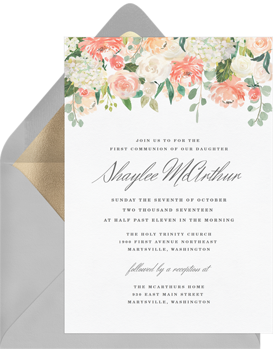 The Pretty Pastel Peonies First Communion Invitations from Greenvelope