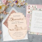 Two quinceañera invitations with envelopes, surrounded by fresh flowers