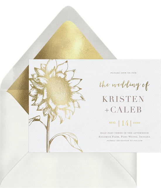 Digital wedding invitations featuring a gold-foil sunflower