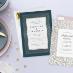Rehearsal dinner invitations: invitations on a festive party table setting