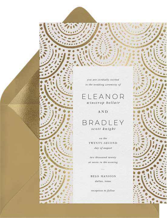 Gold foil digital wedding invitations with a scalloped design