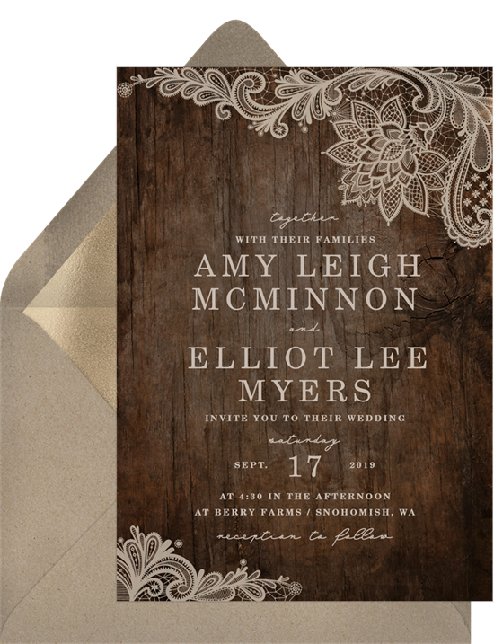 Rustic wedding invitation examples with a wood grain background and lace corners