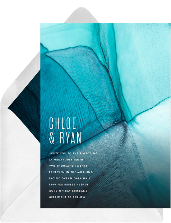 Abstract, modern wedding invitation examples with a backdrop inspired by sea glass