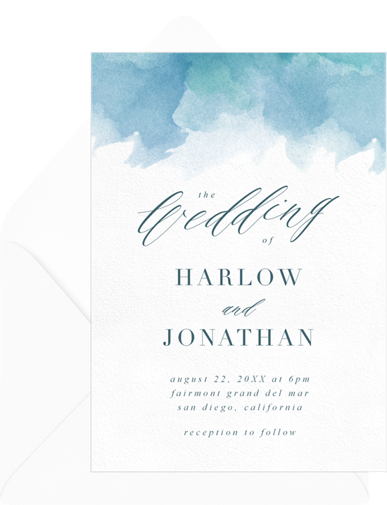 Beach wedding invitations: the Seaglass invitation design from Greenvelope