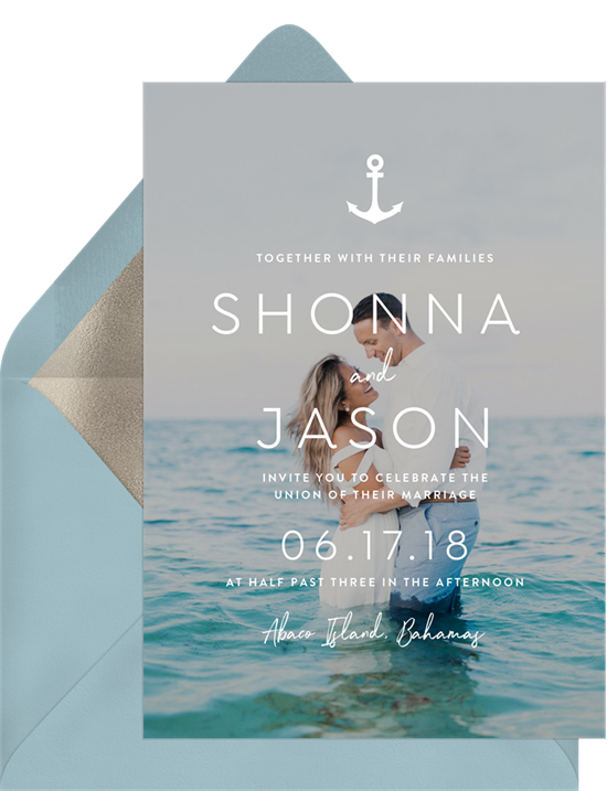 Beach wedding invitations: the Seaside Nuptials invitation design from Greenvelope