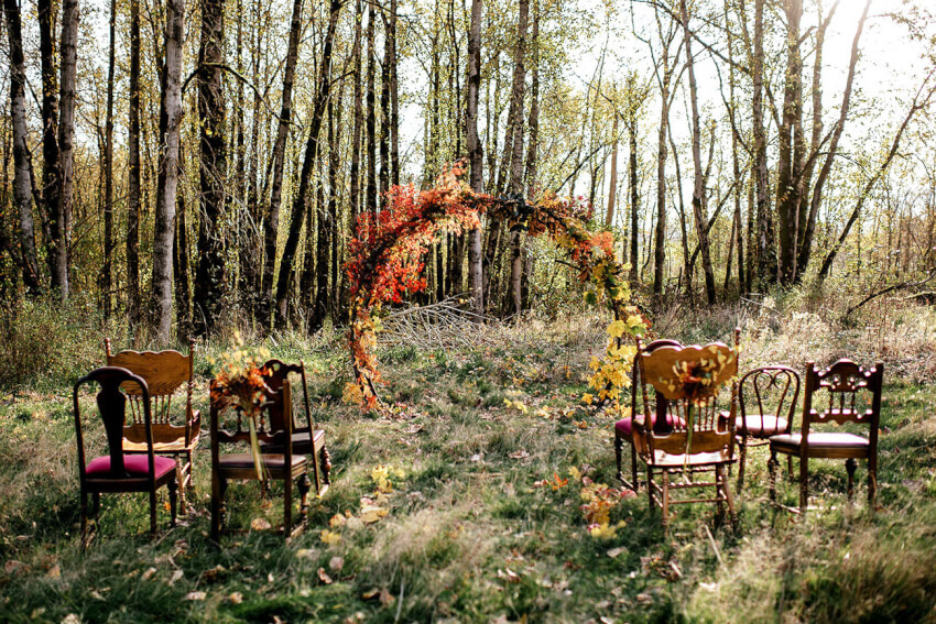 seasonal fall wedding ceremony backdrop