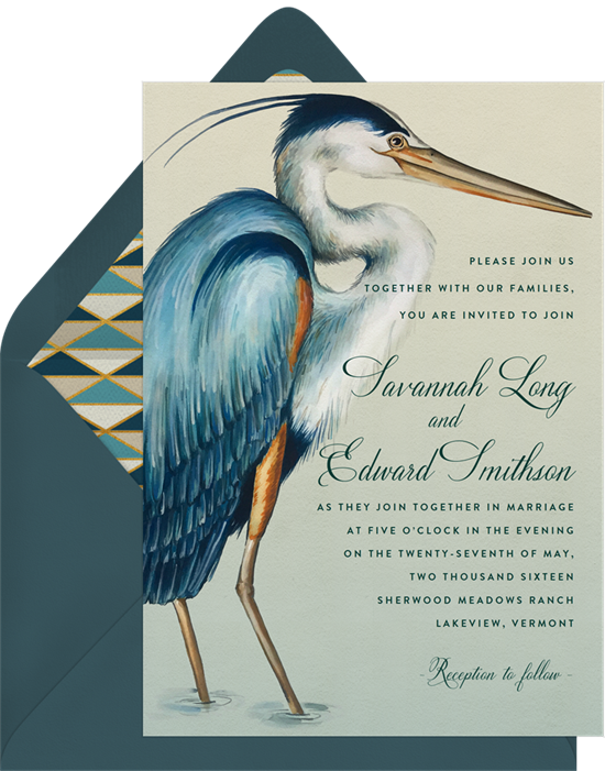 Beach wedding invitations: the Serene Heron invitation design from Greenvelope