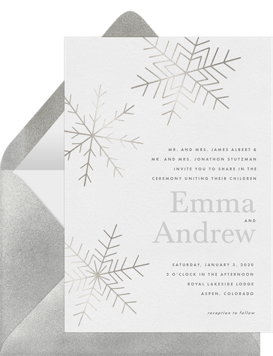 Winter wedding invitation examples with silver snowflakes on a white background